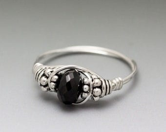 Black Spinel Faceted Bali Sterling Silver Wire Wrapped Bead Ring - Made to Order, Ships Fast!