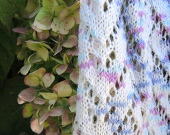 Ombre Pastel Machine Knit Rectangular Chevron Lace Shawl Scarf Wrap