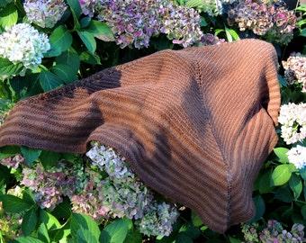 Brown Alpaca Hand Knit Triangular Tonal Stripe Shawl or Scarf