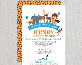 Zoo Invitation, Zoo Birthday Party Invitation, Party Animal Invitation, Birthday Invitation