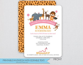 Zoo and Party Animal Birthday Invitation- Pink and Tangerine -DIY-Instant Download & Editable File-Personalize at home with Adobe Reader