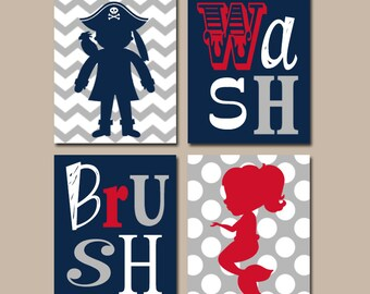 Mermaid Pirate BATHROOM Wall Art   Canvas Or Prints   Brother Sister  BATHROOM   Navy Gray