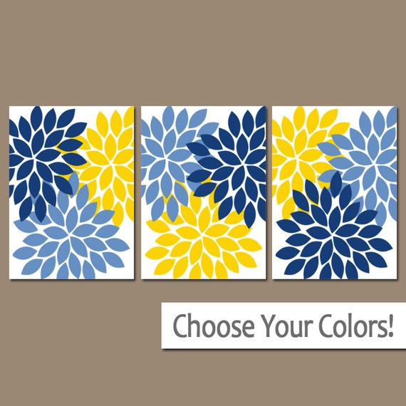 Light Blue Bathroom Wall Art Canvas Or Prints Blue Bedroom: Yellow Navy Blue Wall Art Bedroom Pictures CANVAS Or Prints