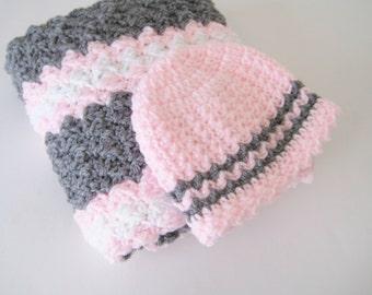 Crochet Baby Blanket Set, Baby Shower Gift, Baby Travel Blanket Set, Baby Girl Blanket & Hat; Pink Grey Blanket Set