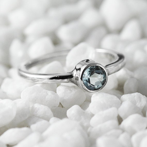 White Gold Ring Simple Blue Topaz Engagement Rings