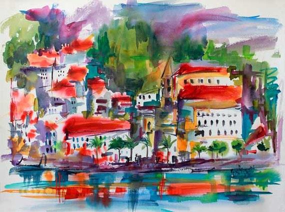 Amalfi Coast Expressive Watercolor Original Travel Italy