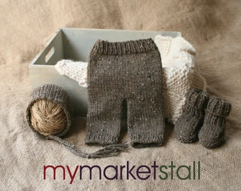 Newborn Brown Tweed Bonnet, Pants and Bootie Set - Ready to Ship