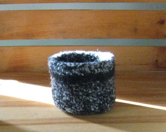 Black Tweed Bowl w Black Stripe - In Stock - Ready to Ship