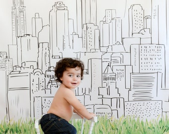 New York City skyline, vinyl photo backdrop, 6ft x 6ft, or 8ft x 8ft, hand illustrated, custom for birthday, wedding, holiday card, etc.