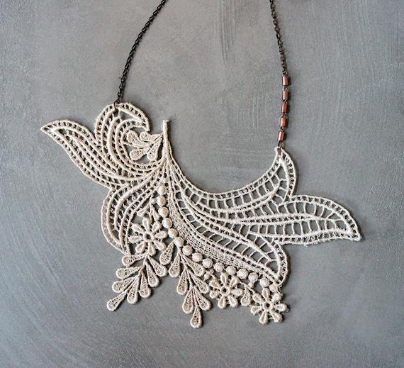 ivory lace necklace / ANOUSKA / statement necklace,  boho,  large necklace,  lace jewelry, victorian necklace, gift under 40, bib necklace
