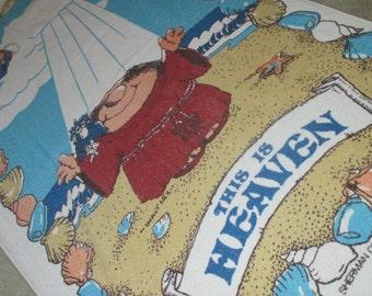 Vintage 80s This is Heaven Monk on Beach American Greetings Beach Towel 1982
