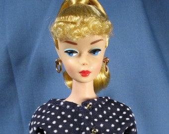 Barbie Clothes - Navy Blue Dotted Swiss Dress and Jacket Set