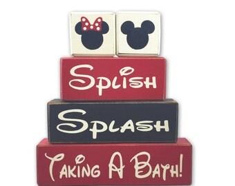 Mickey Mouse bathroom decor splish splash taking a bath Disney rustic country primitive