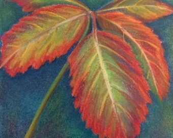 "Pastel drawing leaves floral garden art 12""x12"""