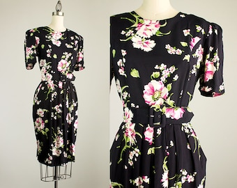 90s Vintage Black And Pink Floral Print Puff Sleeve Belted Day Dress / Size Small / Medium / Indie Hipster Style