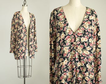 90s Vintage Floral Print Slouchy Tunic Blouse / Lightweight Blazer Coat  / Size Medium / Large / Hipster / 1990s Boho Style