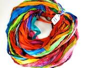 Sari Silk Ribbon, Recycled Silk Sari Ribbon, multi color ribbon, weaving supply, wrapping ribbon