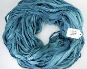 Recycled Silk Chiffon Sari Ribbon, Sari Silk Chiffon ribbon, Chiffon ribbon, teal blue ribbon, tassel supply, weaving supply