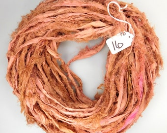 Silk Sari Ribbon, Sari Silk ribbon, Recycled Silk Sari Ribbon, Deep Peach Blush ribbon, Fuzzy ribbon, peach sari ribbon