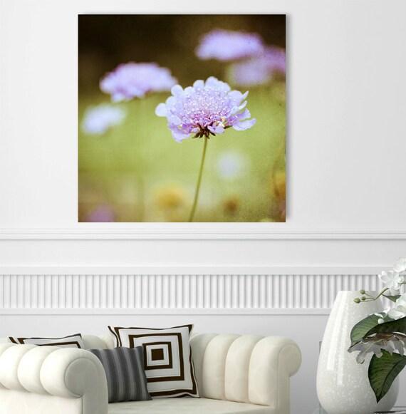 "Botanical canvas art - pale purple olive green  -  pincushion flower wall art - dreamy floral garden - canvas gallery wrap ""Lilac Wine"""