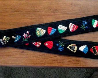 Embroidered Belt Switzerland Coat of Arms Crests Red Cross Edelweiss