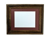 11x14 dark grey and brown wood picture frame with mat for 8x10 or 8x12 or 9x12