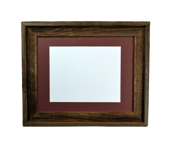 11x14 dark grey and brown wood picture frame with mat for 8x10