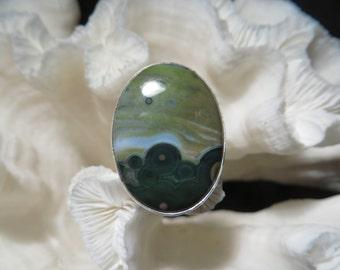 Pretty  Ocean Jasper Ring Size 7