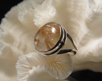 Golden Rutile Agate Ring Size 6.25