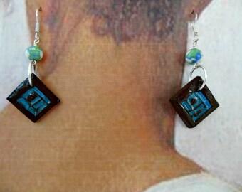Glazed Ceramic and Bead Earrings - Brown, Teal - OOAK