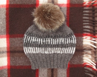 Fox Fur Pom Pom Hat. 100% Organic Wool Knit Hat. Wild Turkey Feather Hat. Winter Knit Hat. Ready to Ship