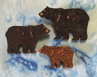 Bear Walk  Red Cedar Brooch