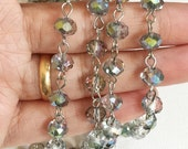 3ft of antique silver chain with  glass rondelle beads,  brass chain with blue green color glass beads, brass beaded chain
