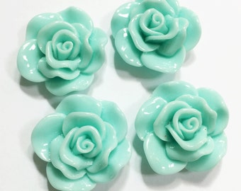 6 pcs of acrylic Lucite flower Cabochon 30x28mm Turquoise green