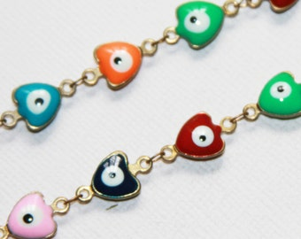 Gold plated brass with enamel chain, evil eye decorative chain, multi color chain 1 Meter