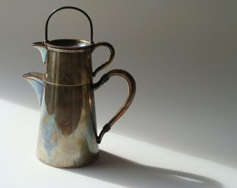 vintage silverplate stacking three piece teapot made by Barbour Sliver Company