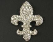 Fleur de Lis Wedding Brooch Pin Embellishment Clear Rhinestone Bridal Bouquet Gown Sash Hair Comb Adornment Silver Shoe Clip |LG12-6|1