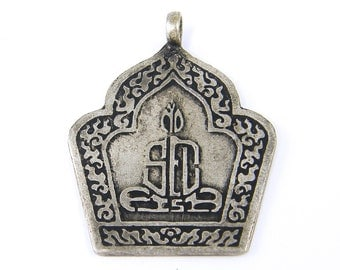 Anique Silver Tribal Amulet Pendant Sitting Buddha Pendant Ethnic Jewelry Component |S13-13|1
