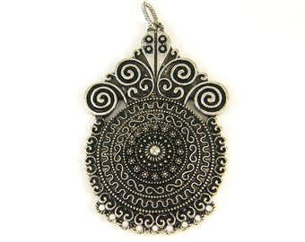 Tribal Antique Silver Pendant for Necklace Ornate Jewelry Finding Ethnic Component |S11-7|1