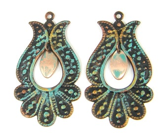 Tulip Earring Findings Verdigris Patina Copper Turquoise Bronze Granulated Pendant Jewelry Supply |CO3-13|2