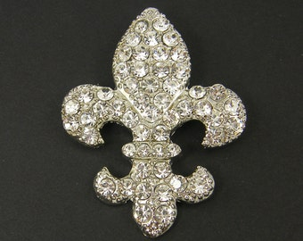Fleur de Lis Wedding Brooch Pin Embellishment Clear Rhinestone Bridal Bouquet Gown Sash Hair Comb Adornment Silver Shoe Clip |LG12-6|1