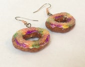 King Cake Earrings - Gold Plated or Copper - A New Orleans Mardi Gras favorite