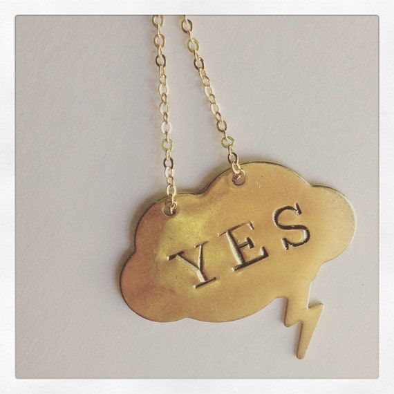 Positive Vibes YES Necklace in Brass - Statement - Golden - Gold - Hipster - Word - Positive - Festival - Happiness - Kindness - Positivity