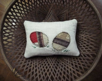 Primitive Very Small Easter Egg Pillow From Vintage Quilt Blocks