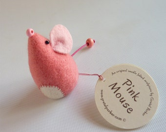 Needle felted mouse, needle felt mouse, mouse ornament, felt mouse, needle felt animal, cute mouse, pink mouse. mouse gift,  Gretel Parker