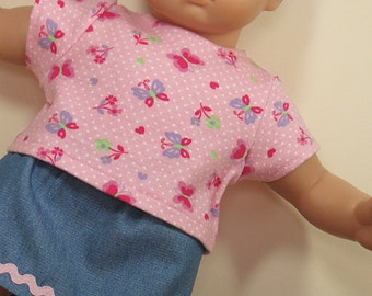 Bitty or Twin Doll Clothes -  Denim Skirt and Pink Flowers/Butterflies Tee