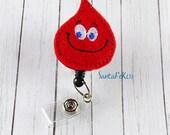 Red Phlebotomy Drop of Blood ID Badge, Embroidered Badge Reel, Retractable ID Badge Holder, Badge Reel Clip, Medical Badge Reel, Lanyard Id