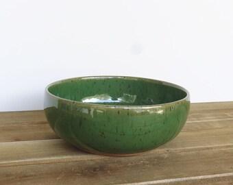 Single Stoneware Pottery Soup Bowl in Glossy Transparent Dark Green Glaze