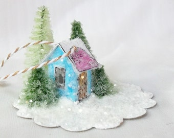 Vintage Putz Style Magical Miniature Blue Glitter Woodland Out House Warming Cottage for Teacup Winter Fairy Garden Christmas Village