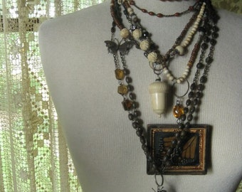 acorn ~ antique thimble case gemstone rosary rhinestone wrap necklace